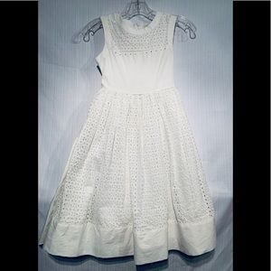 Girls White Eyelet Dress Fully Lined Size 10